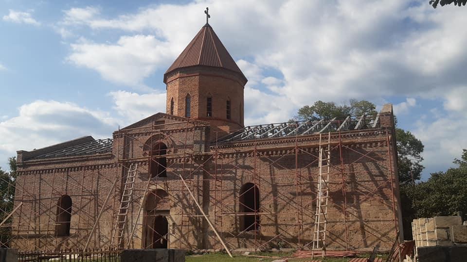 Удинская церковь «Булун»,  на стадии реставрации. Нидж, Габалинский район 15.08.2020г.