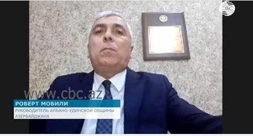 Интервью с председателем Албано-удинской христианской общины Азербайджана Робертом Мобили на канале СВС.